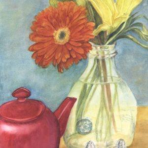 gerbera daisy and teapot