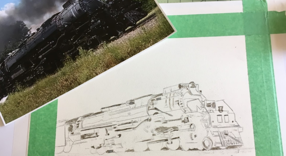Sketch of the Big Boy Steam Locomotive on Watercolor paper
