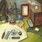 Watercolor painting of a desk with jeweler tools and storage