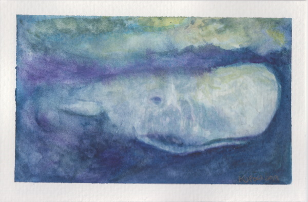 A commission watercolor painting of a sperm whale