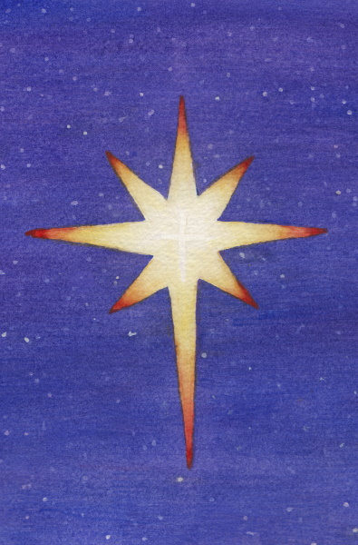 A commission watercolor painting of the Star of Bethlehem