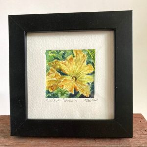 A tiny wonder original watercolor painting of a zucchini blossom