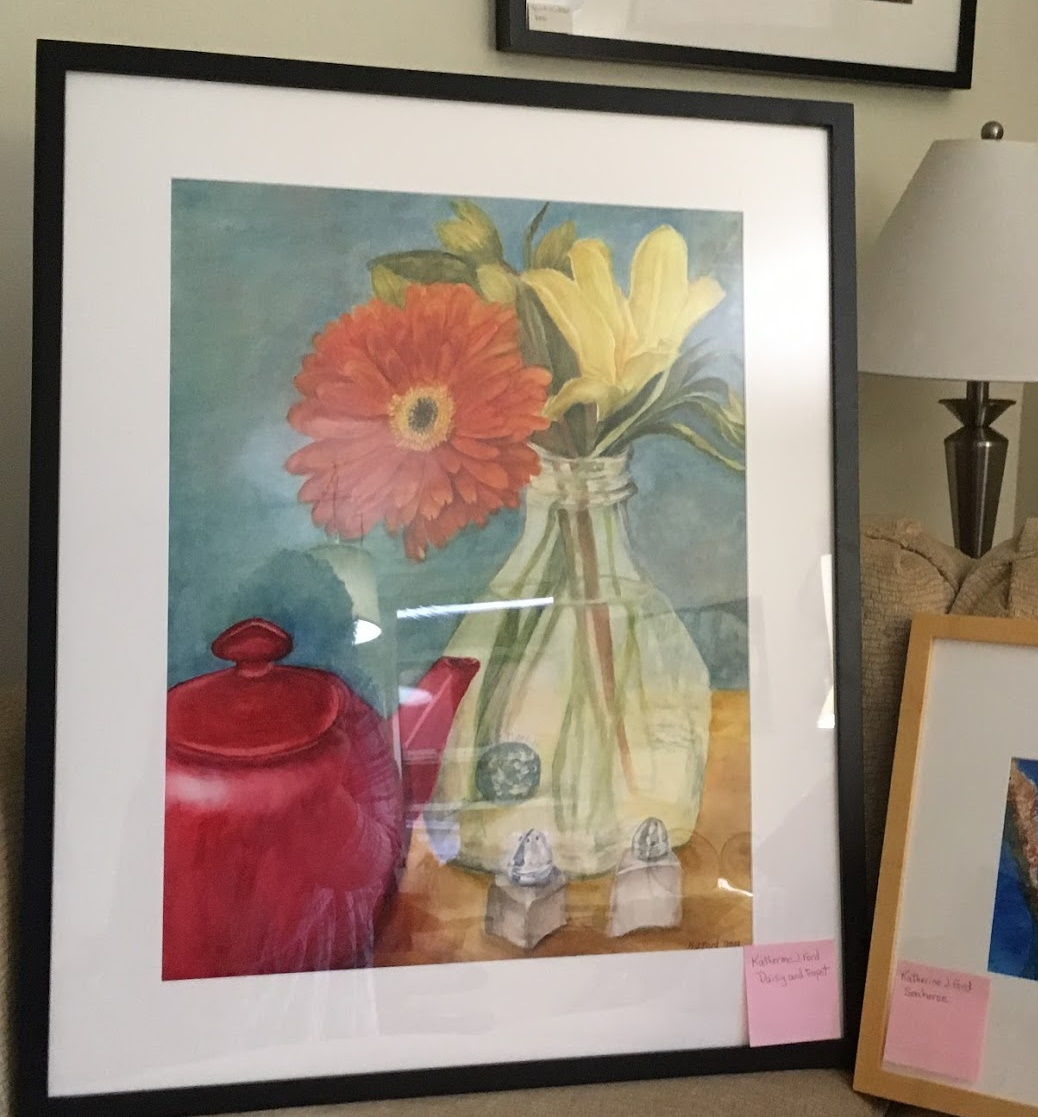 A Framed original Watercolor Painting of a gerbera daisy and red teapot