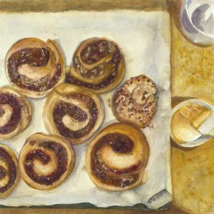 An original watercolor painting of a tray of cinnamon buns ready for icing.