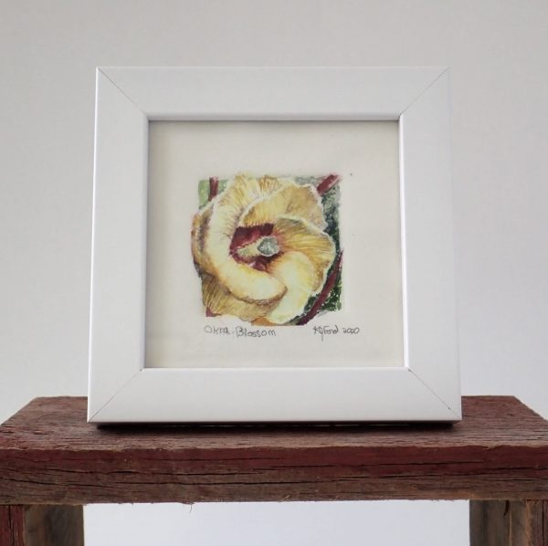 Watercolor painting of the Okra blossom.