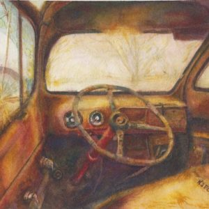 © Katherine J. Ford, Rust In Place, Watercolor, 11 x 14 inchesRusting 53 Ford F3 truck with a cracked window.