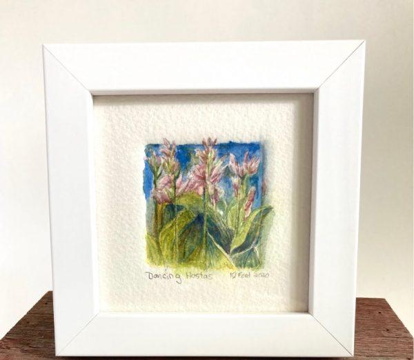 Tiny Wonder Original Watercolor Painting of Hosta Flowers Dancing in the wind