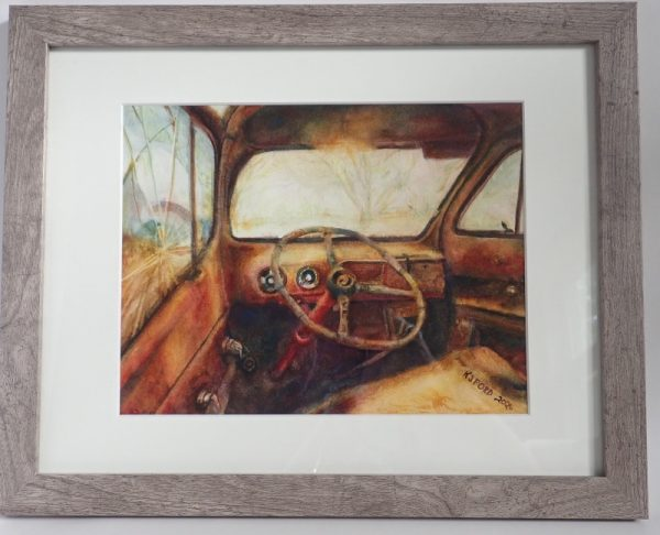 A framed image of the original watercolor painting by Katherine J Ford title Rust in Place