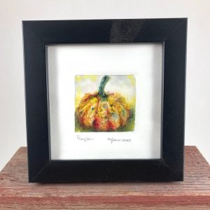 Tiny Wonder Original Watercolor Painting of a pumpkin and a black frame.