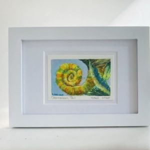 An original watercolor painting of a chameleon tail.