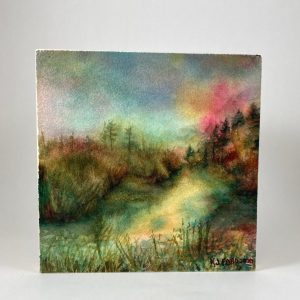 An impressionistic watercolor of a mystical waterway.