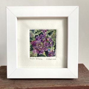 Tiny painting of a purple verbena