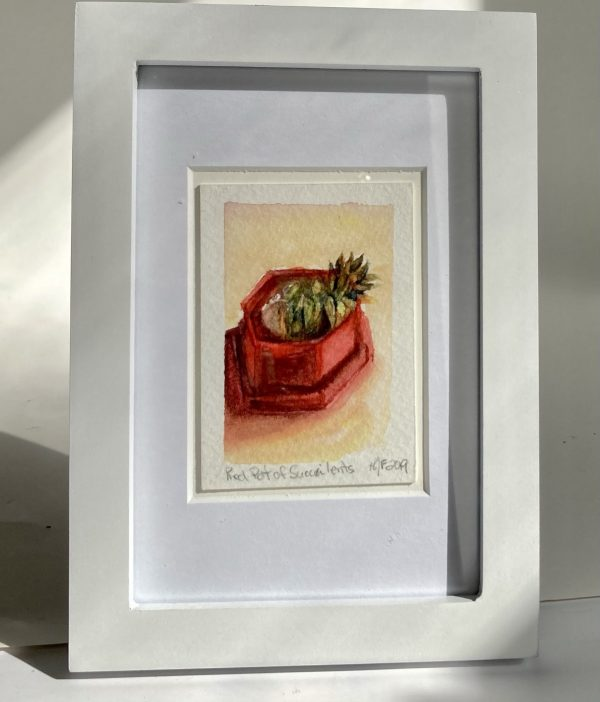 Original watercolor painting of a red pot of succulents