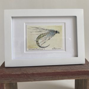 An original watercolor painting of a fly fishing fly.