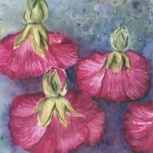 Hollyhock Dolls floating on water like they are dancing.